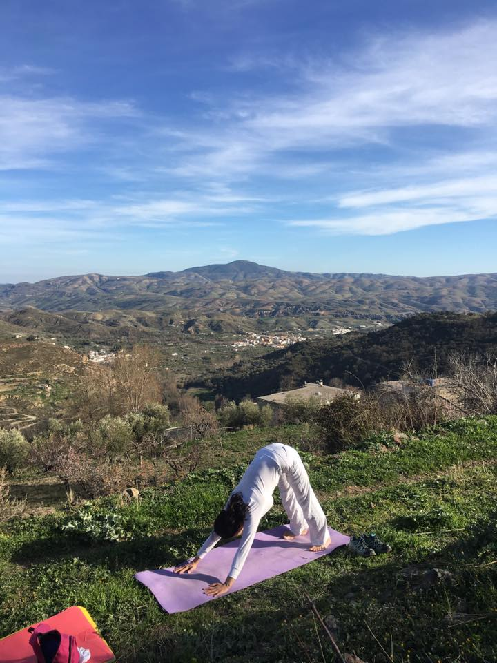Yoga with a mountain view